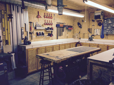 Father son woodworking shop